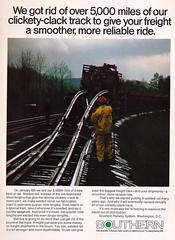 Trains Magazine, October 1975 (mod as hell) Tags: southern 1975 trainsmagazine weldedrail 1970sads