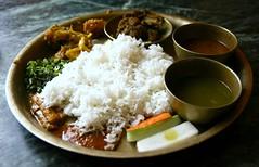 Nepal : dhal bat (piatto nazionale) (nepalbaba) Tags: nepal vegetables dinner lunch restaurant rice meat kathmandu carne ristorante cena lentils riso pranzo verdura lenticchie dhalbat paololivornosfriends nepalbaba