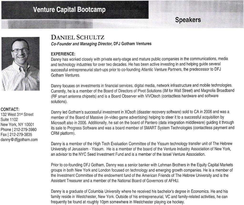 Venture Capital Bootcamp 2009 - Daniel Schultz