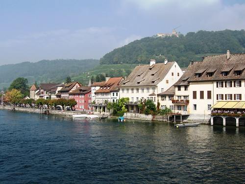 Idyllic houses and hills by the Rhine River in Stein-am-Rhein, Switzerland