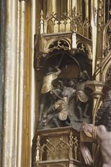 Geel, Vlaanderen, St.-Dimpnakerk, passion altar, border carving (groenling) Tags: wood hammer soldier nail jesus carving altar be passion geel hout woodcarving hamer flanders soldaat kempen vlaanderen passie spijker altaar houtsnijwerk snijwerk passiealtaar passionaltar stdimpnakerk