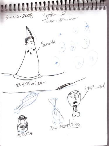 Mi memoria en dibujos 26 (O, Oficina, Zeñartutito, Espinita, Segura)