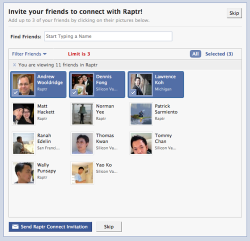 Add Your Friends, Invite Friends and Sign In With Facebook Connect | Raptr Tracks