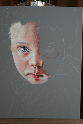 In progress colored pencil portrait entitled Matthew