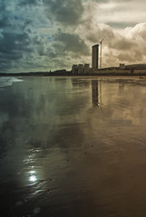 hightide4 (andyathlon) Tags: blue sunset swansea clouds out bay high sand sony tide going nd a200 grad mode