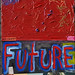 Future (Jeremiah 29:11)  79 x 16 in. Acrylic & Collage on Hollow Core Door.