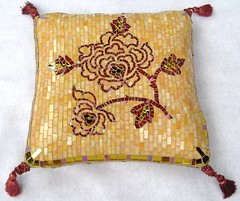 Mosaic Pillow - finished! (CrystalThomas) Tags: red sculpture orange flower art gold 3d mosaic stainedglass pillow styrofoam polystyrene tassels crystalthomas