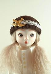 Leah closeup (Elsita (Elsa Mora)) Tags: sculpture woman art girl beautiful vintage design miniature blog eyes doll handmade lace leah unique ooak silk skirt mohair etsy elsa mora elsita paperclay
