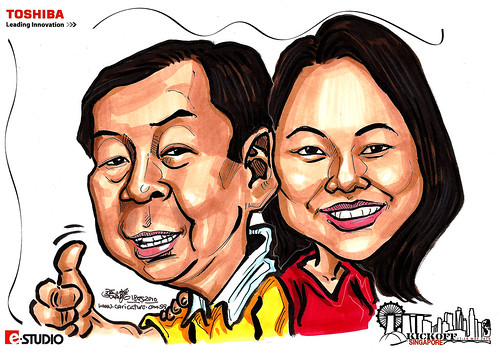 Caricature of Mr and Mrs