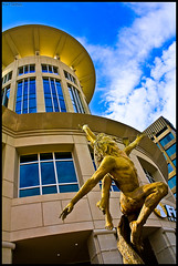Reach for the sky... (JayCaps) Tags: sky building statue canon hotel downtown jay southcarolina 1855mm greenville hdr marriot greenvillesc marriothotel picturenaut t2i jaycaps