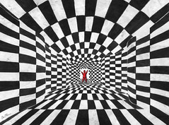 Chess Art - 3 (Ben Heine) Tags: hello blackandwhite game art illustration ink lost vanishingpoint poem squares geometry perspective creative chess victory madness math littleman series minimalism timetunnel srie opticalillusion rectangles jeu checs redman timemachine victoire inkpainting carrs theartistery strongcontrasts petithomme benheine chessart katiegabrielle