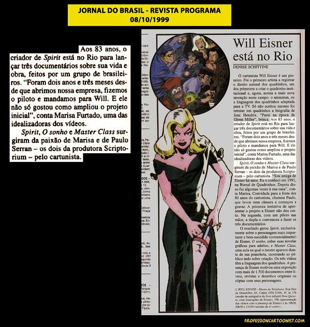 """""""Will Eisner está no Rio"""" - Jornal do Brasil - 08/10/1999"""