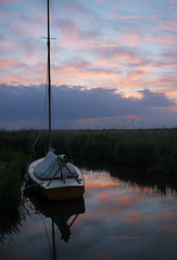 Sally in the sky (Chérine K) Tags: pink sky reflection boat norfolk sail sailingboat pinkcouds