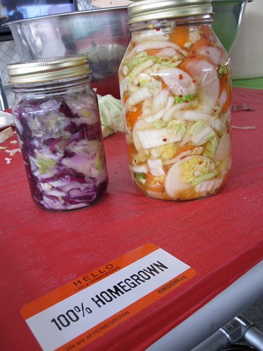 The product of the Hands-on Sauerkraut workshop in The HOMEGROWN Village at Maker Faire Bay Area