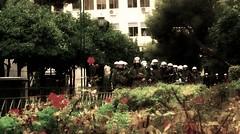 Les fleurs du mal (Con-Tiki) Tags: flowers police athens lesfleursdumal athensriots athensdemonstrations