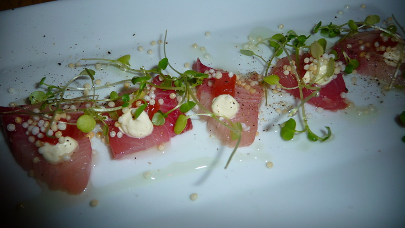 Yellowtail crudo with creme fraiche and grapefruit at JLOB