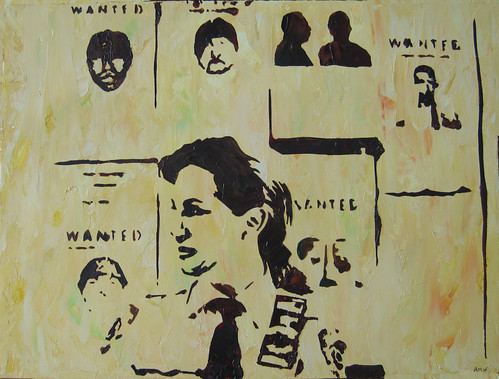 Oils - Jane with Wanted posters
