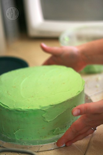 Bethany prepares the cake