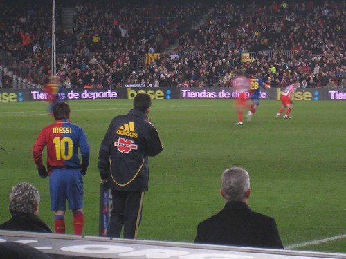 Messi prepares to enter the game
