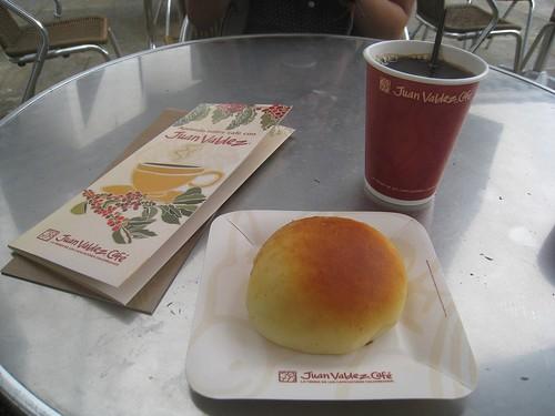 Breakfast at a Juan Valdez cafe