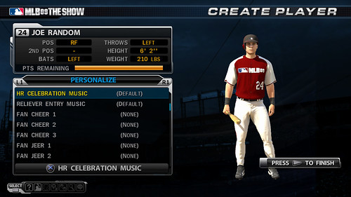 MLB 09 The Show screenshot - RTTS Create Player