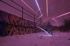polar coordinate system ({ tcb }) Tags: winter light snow cold minnesota st wall train sketchy painting paul fire graffiti alone fame orb trains sphere solo round string split railing sparkler sparks explode tanker flammable