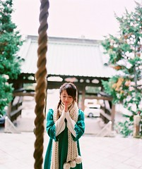 Wish (yangkuo) Tags: winter green japan scarf temple japanese rope idol serene nozomi wishing sasaki