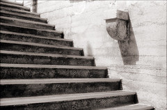 Lightner Steps (Jamie Powell Sheppard) Tags: blackandwhite bw art film architecture stairs ir photo florida fineart steps pouredconcrete canonae1program staugustine sepiatone lightnermuseum henryflagler 35mmslr femalephotographer hc110dilb alcazarhotel kodakhiebwinfrared