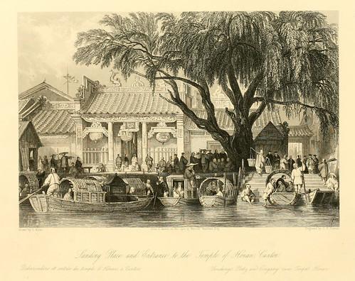 008- Desembarcadero y entrada del templo de Honan en Canton