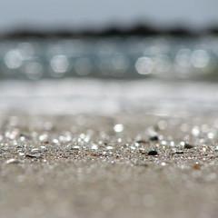 Hawley Beach - keh ... (Mary Trebilco) Tags: blue sea shells beach nature water sparkles canon square sand bokeh australia explore tasmania cropped hmb straightfromthecamera mondayblues sooc canonpowershots3is hawleybeach