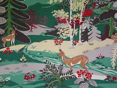 Vintage Woodland Scene Barkcloth Fabric (Niesz Vintage Fabric) Tags: tree cute green forest vintage woodland woods deer vintagefabric barkcloth shadesofinspiration