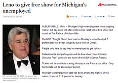 Jay Leno get big props for free show for Michigan's unemployed