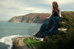 A House With A View (Sarai | Fotography) Tags: ocean houses sea mountain beach girl waves dress digitalart manipulation footsteps worldofgiantsseries