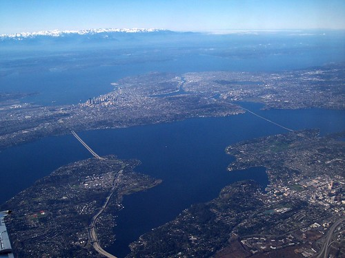 Aerial view of Seattle and the Eastside