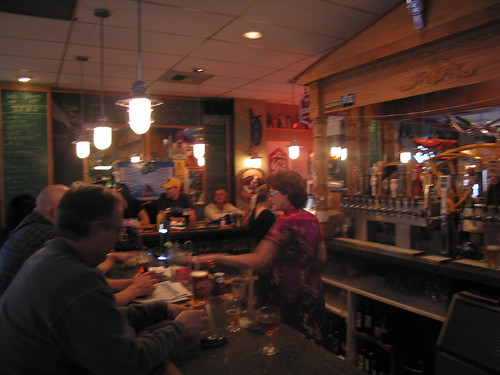 Carol Stoudt seemed at home behind the bar.