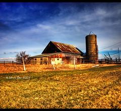 HDR - Vertorama Barn (Craig - S) Tags: blue sky cloud white field barn fence rust post silo explore abandon puffy hdr platinumphoto vertorama yourphototipscom