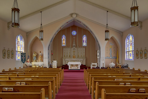 Saint Norbert Roman Catholic Church, in Hardin, Illinois, USA - nave