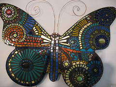 butterfly (BaileyWho?) Tags: flowers glass beautiful glitter butterfly beads whimsy colorful plates lovely sparkly antenna grout artswork