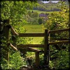 Over The Stile (strussler) Tags: england photoshop canon woodland eos wooden cottage sigma hampshire orchard apo 5d footpath stile hdr thatched lightroom 70300 3xp photomatix selborne tonemapped selbornecommon