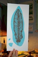 More 5 Dolla Prints (wearebrainstorm) Tags: show bird print feather craft silkscreen printmaking
