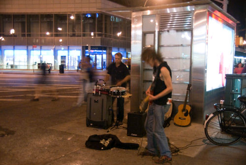 Night street performers in St. Marks, NYC