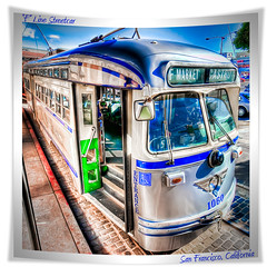 Downtown train (big_pixel_pusher) Tags: sanfrancisco old color water vintage cool vibrant rail sharp transportation fishermanswharf streamlined streetcar hdr fline bppfoto msrcalendarsubmission
