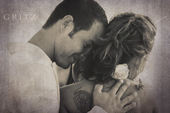 (Laura Henson GRITZ Photography) Tags: wedding blackandwhite flower smile tattoo groom bride florida sweet embrace betharmsheimertexture