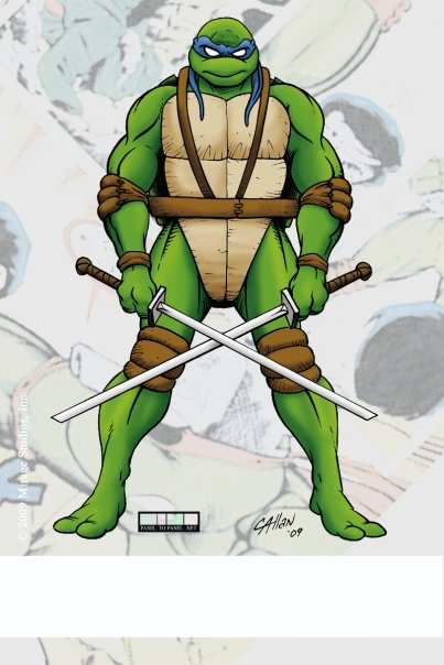 'TEENAGE MUTANT NINJA TURTLES: FUTURE TENSE' {TMNTA} VOLUME 1 exclusive signed P2P bookplate ..final art by Chris Allen (( 2009 )) [[ Courtesy of P2P ]]