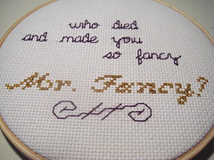Mr. Fancy (benjibot) Tags: crossstitch crafts internet 43folders merlinmann lighteffects hotdogsladies mrfancy