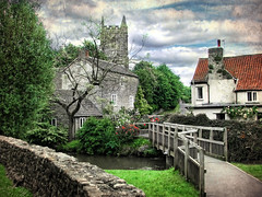 Nunney, Somerset (sminky_pinky100 (In and Out)) Tags: uk trees england green english texture church grass rural river landscape countryside stream pretty village footbridge scenic somerset picturesque hamlet nunney personalbest narrowlane bej omot platinumphoto eyejewel sgtpeppersamazingimagesclubband