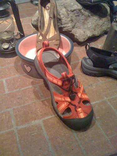 show window display hiking similar croc sandal