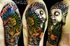 Foo Dog with Buddha Half sleeve tattoo