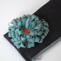 Blurry flower close up (papermode) Tags: orange black flower bag linen teal fabric cotton purse pouch zipper bead clutch