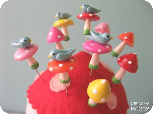 mini mushroom birdie pin topper sets